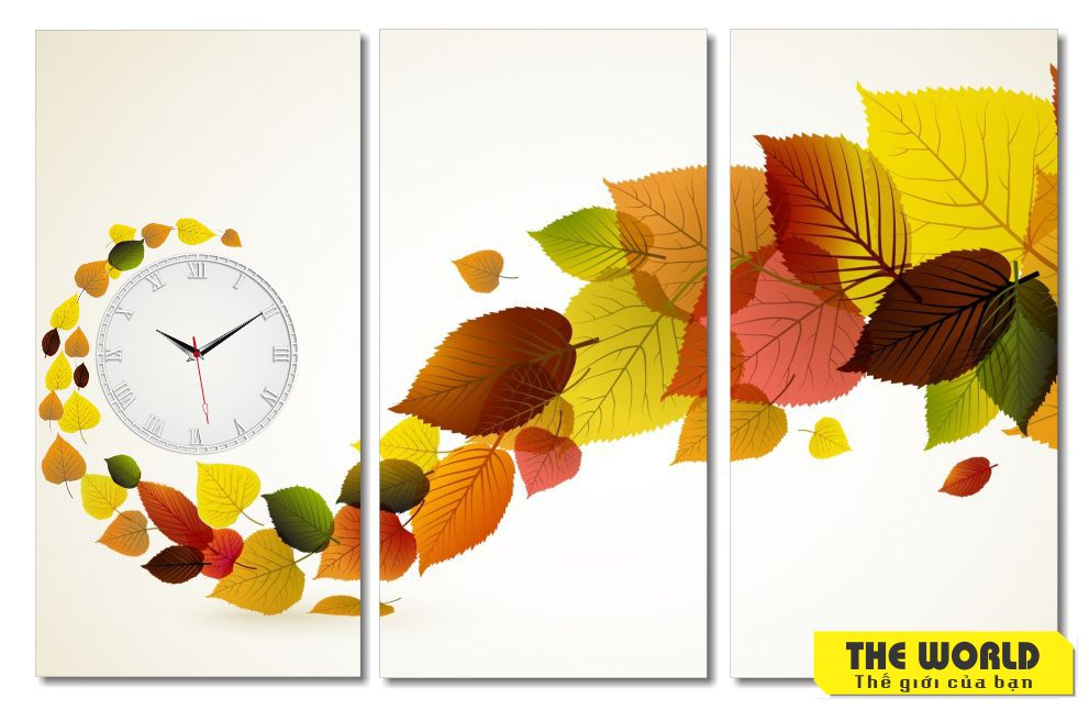tranh đồng hồ treo tường lá mùa thu
