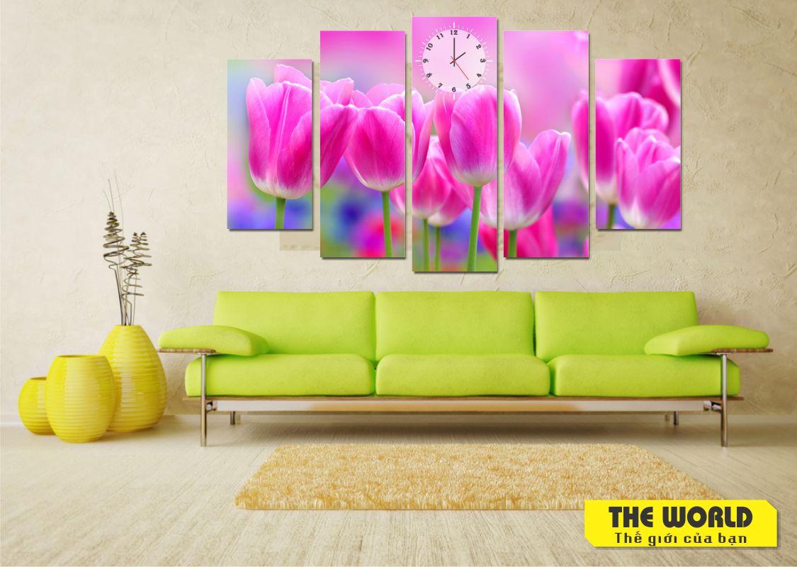 tranh đồng hồ hoa tulip