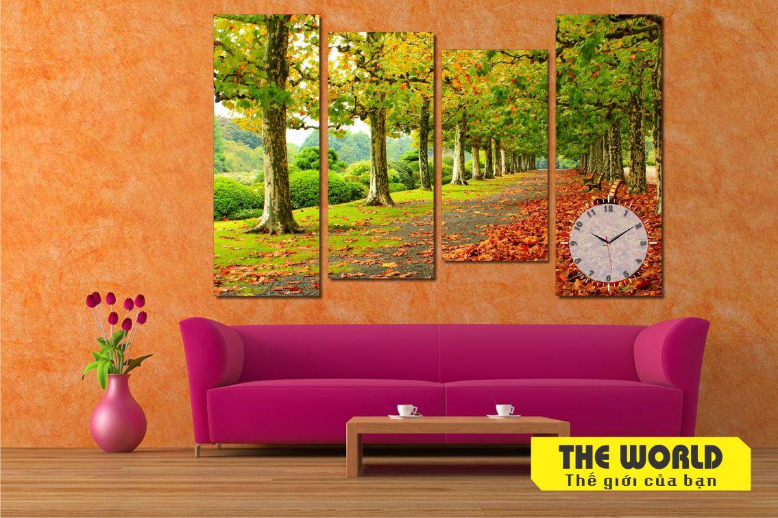 tranh đồng hồ treo tường phong cảnh